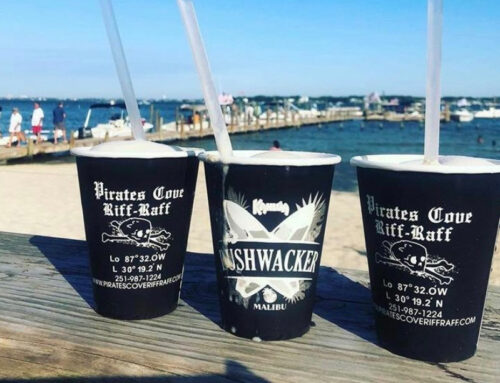 Try the famous cheeseburger and bushwacker at Pirates Cove